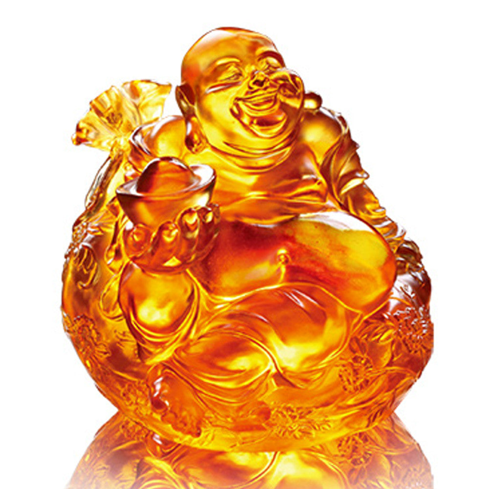 Crystal Buddha, Happy Belly Buddha, Joyous Grand Fulfillment - LIULI Crystal Art - Dark Amber / Light Amber.