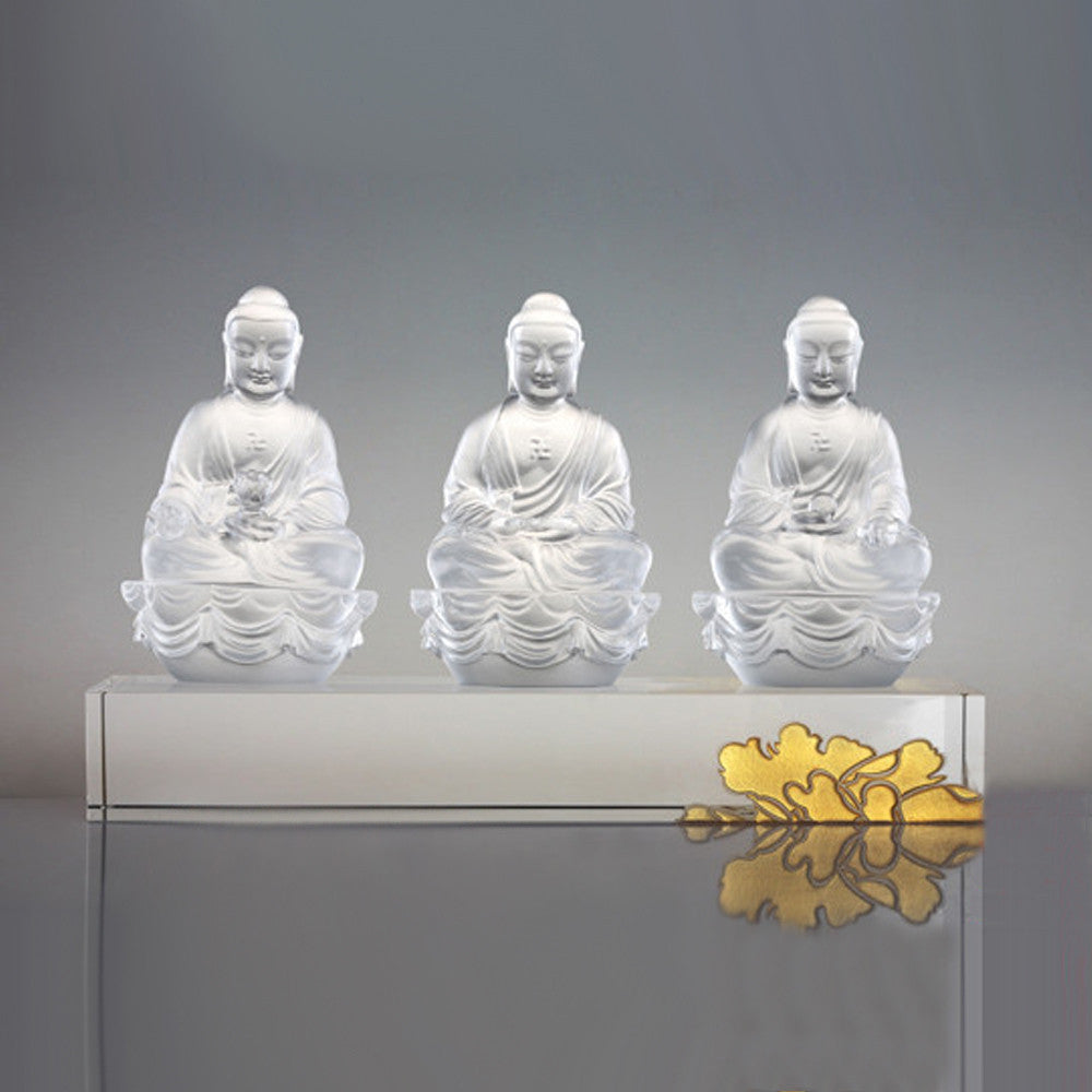 Crystal Buddha, Amitabha, Shakyamuni, Medicine, Guardians of Peace (Set of 3) - LIULI Crystal Art - Powder White.
