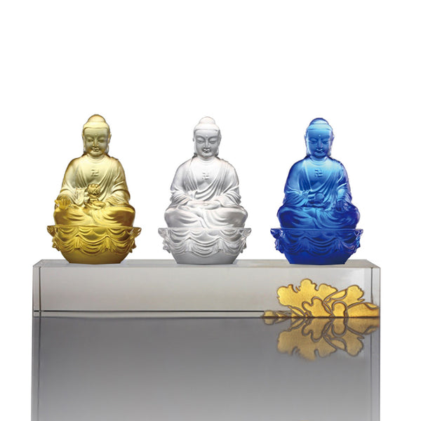 Accompanied by Peace and Joy (Guardians of Peace), Illuminate, Shakyamuni, & Medicine Buddha - LIULI Crystal Art | Collectible Glass Art