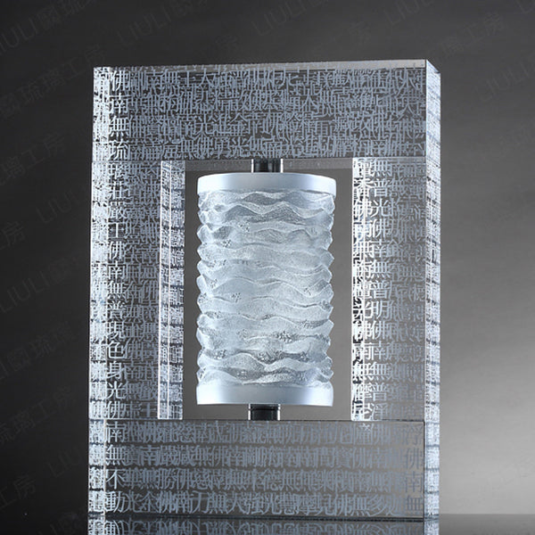 "11.02""H Prayer Wheel (The Six-Character Great Bright Mantra) - ""Recital of Peace"" - LIULI Crystal Art"