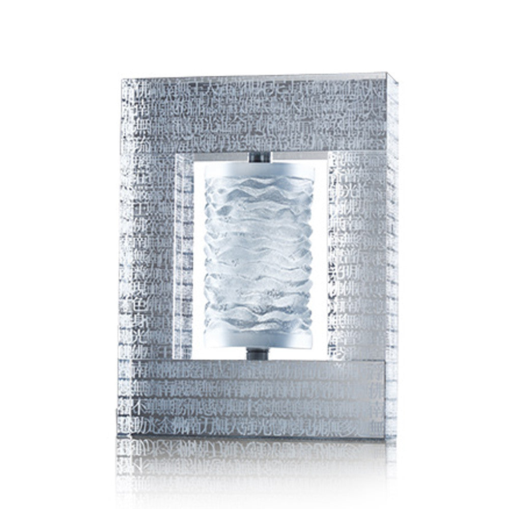 "11.02""H Crystal Prayer Wheel, The Six-Character Great Bright Mantra on LIULI Prayer Wheel, Recital of Peace - LIULI Crystal Art"