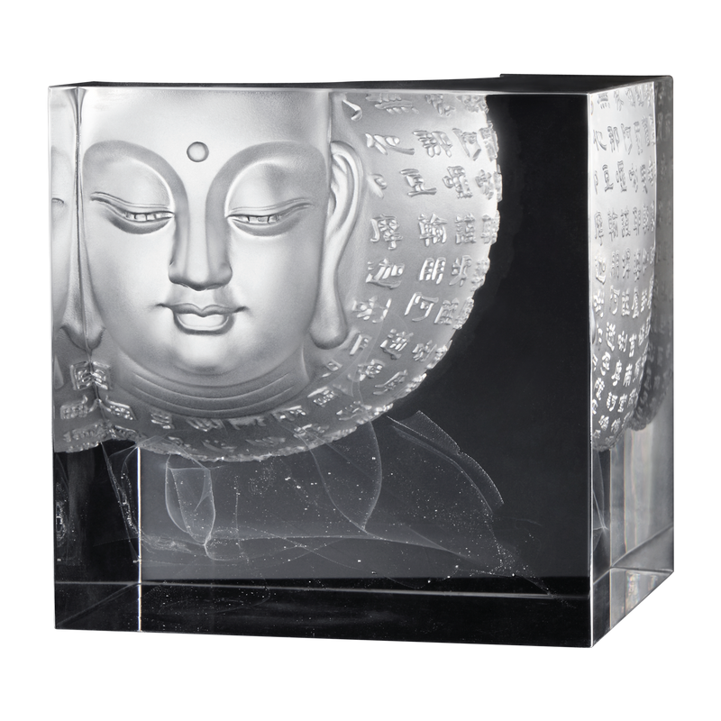 Crystal Buddha, Guanyin, Only Love, Only Concern, Illuminated Heart - LIULI Crystal Art