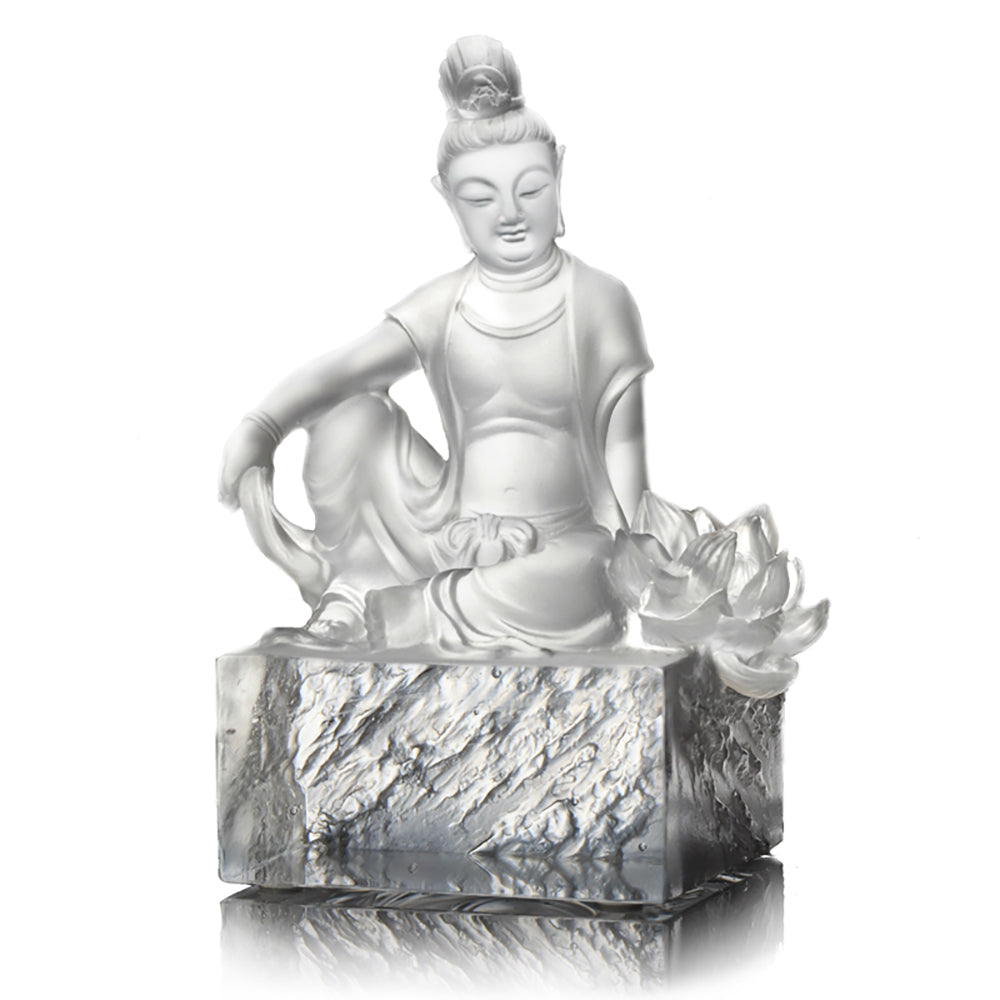 Crystal Buddha, Guanyin, Content, A Flower Blooms - LIULI Crystal Art