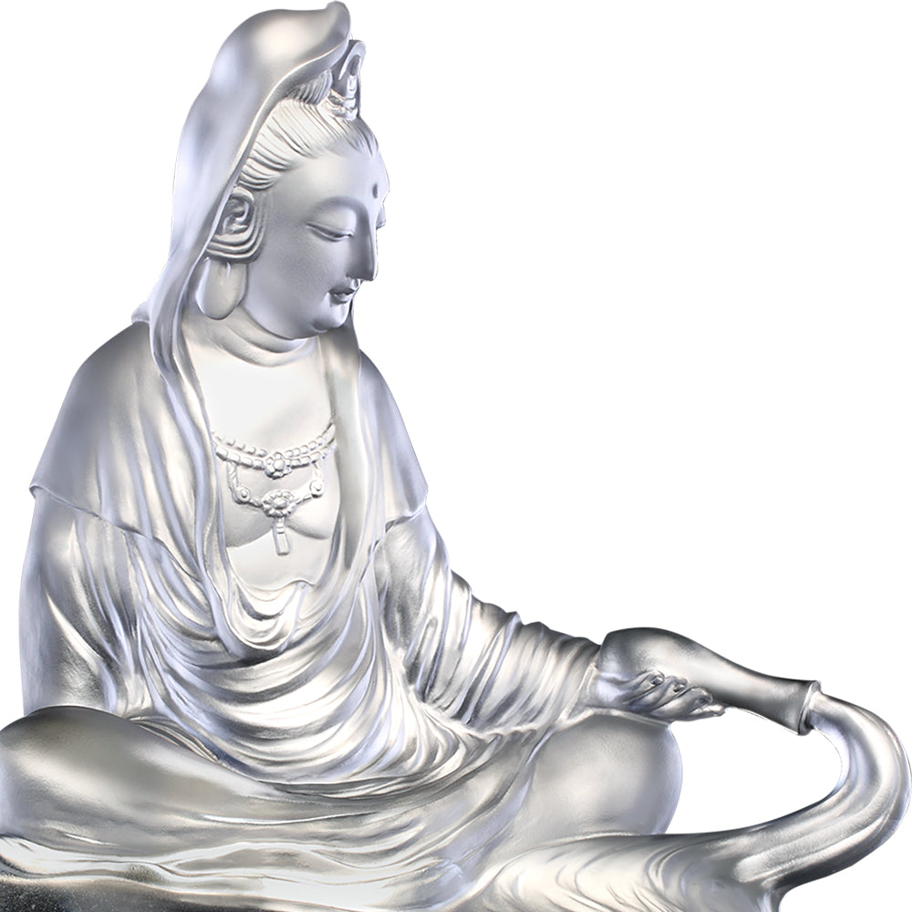 Crystal Buddha, Guanyin, Mortal Smile-Heart of Pure Dew - LIULI Crystal Art