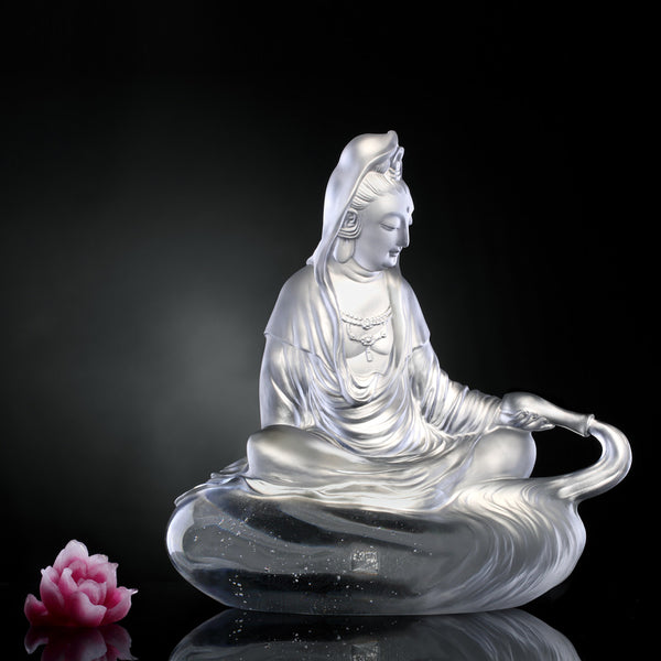 Heart of Pure Dew (Guanyin) - Mortal Smile - LIULI Crystal Art | Collectible Glass Art