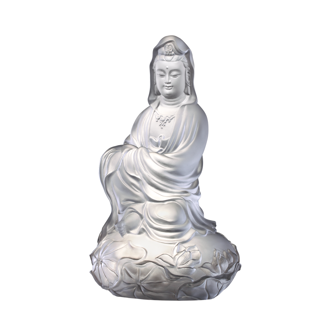 Crystal Buddha, Guanyin, Mortal Smile-Meditation in Spring Wind - LIULI Crystal Art