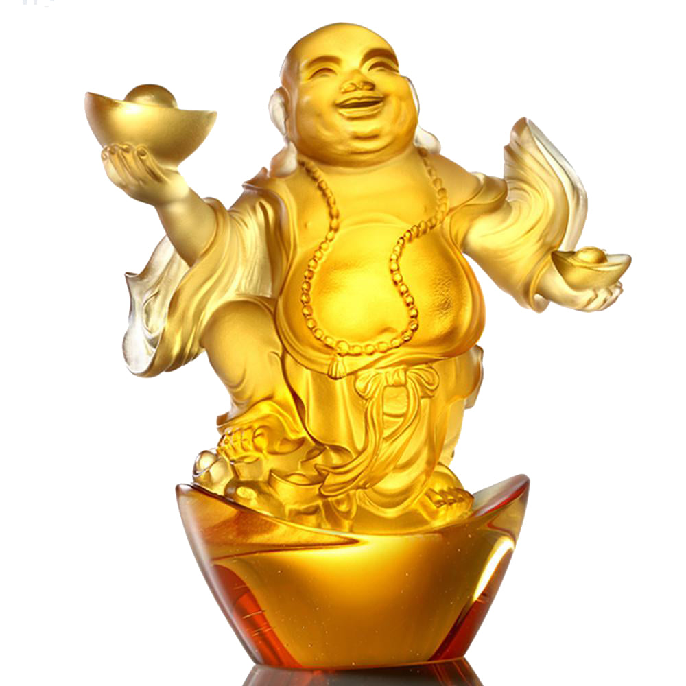Crystal Buddha, Happy Belly Buddha, Laughter of the Little Maitreya Buddha - LIULI Crystal Art