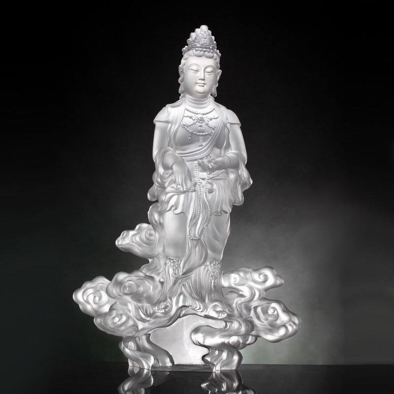 Crystal Buddha, Guanyin, Light Exists Because of Love-Wishes Fulfilled - LIULI Crystal Art
