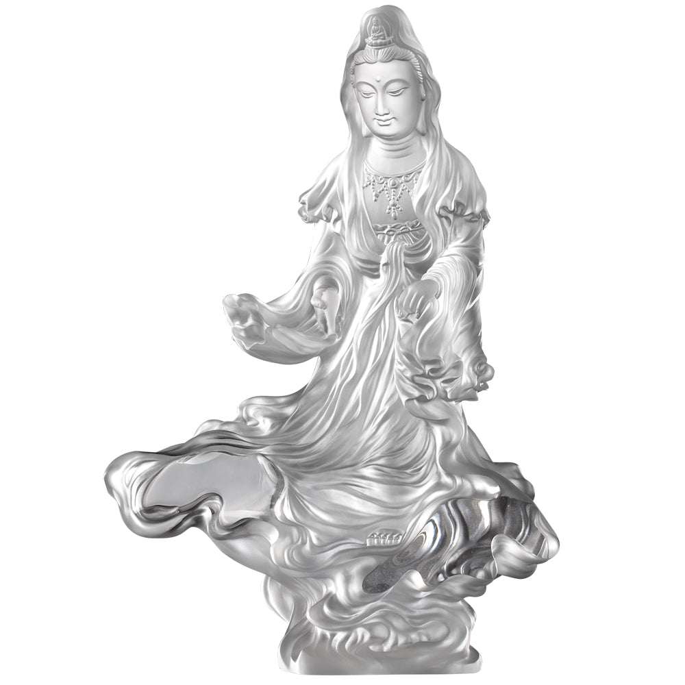 Crystal Buddha, Guanyin, Light Exists Because of Love-Rain of Truth, a Compassionate Heart - LIULI Crystal Art