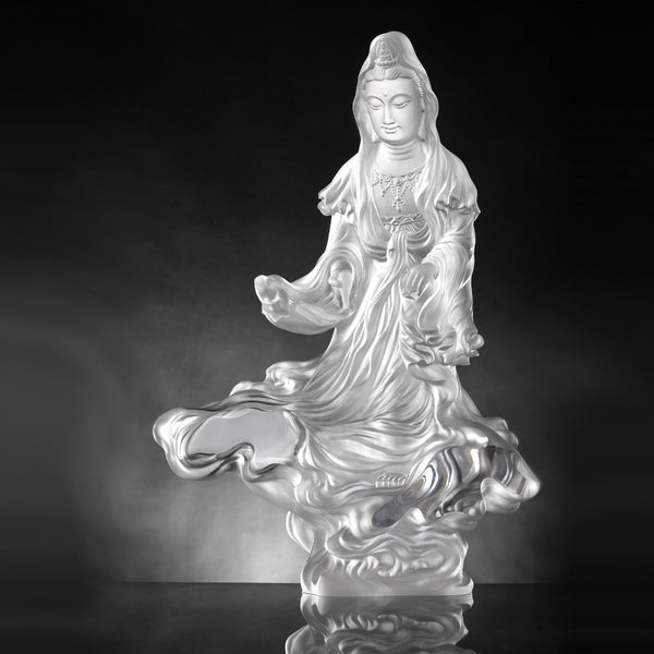 Rain of Truth, a Compassionate Heart (Guanyin) - Light Exists Because of Love - LIULI Crystal Art | Collectible Glass Art