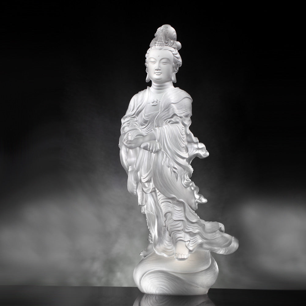 Joyous World (Guanyin) - Light Exists Because of Love - LIULI Crystal Art | Collectible Glass Art