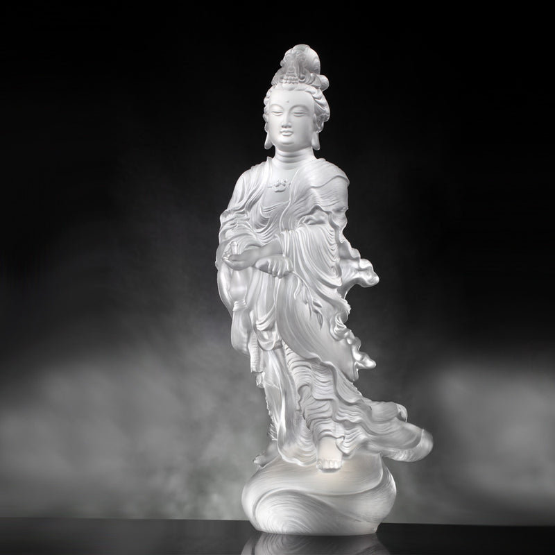Crystal Buddha, Guanyin, Light Exists Because of Love-Joyous World - LIULI Crystal Art