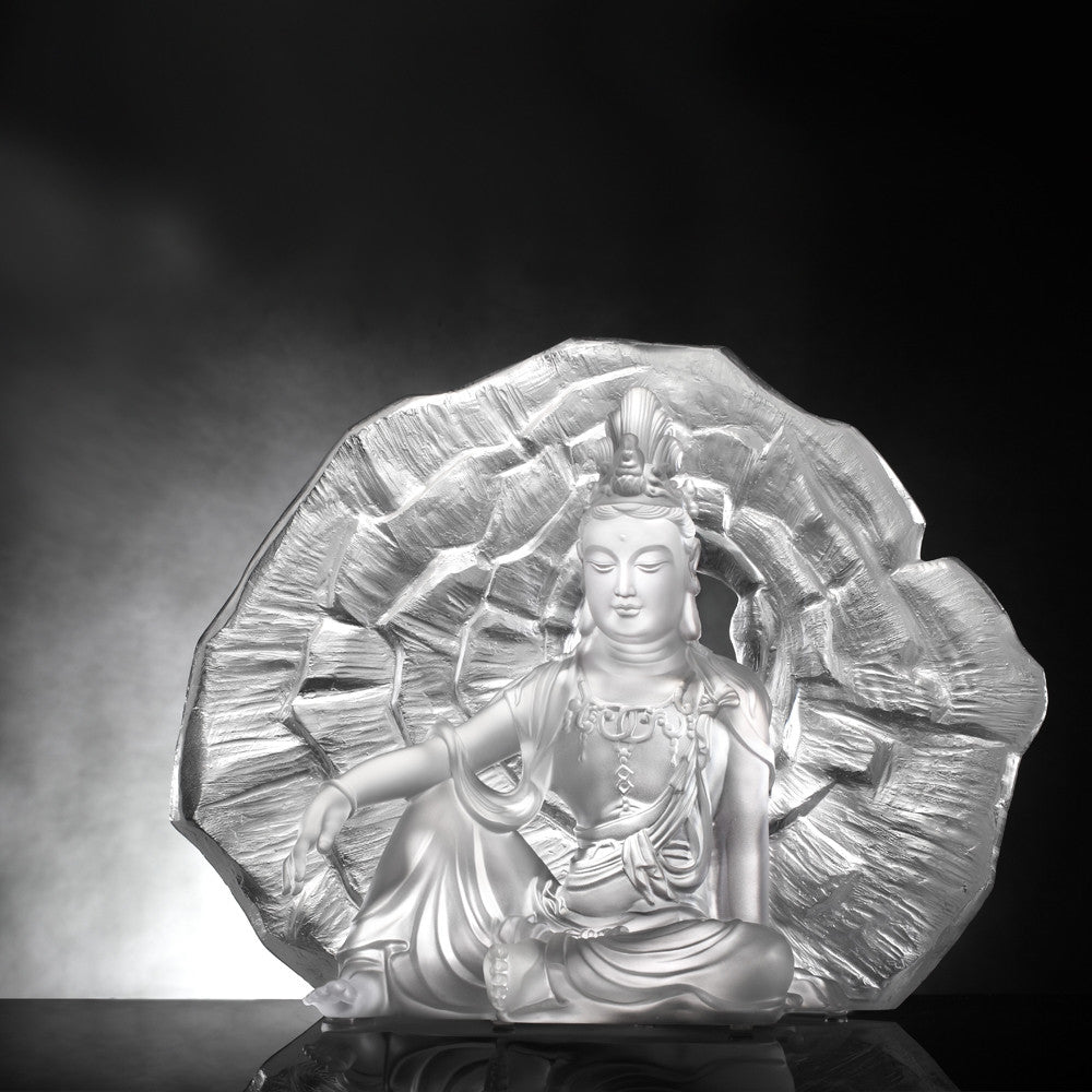 Crystal Buddha, Guanyin, Light Exists Because of Love-Wondrous Illumination - LIULI Crystal Art