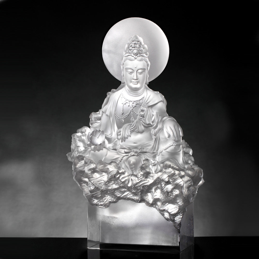 Crystal Buddha, Guanyin, Light Exists Because of Love-Tranquil, at Peace - LIULI Crystal Art