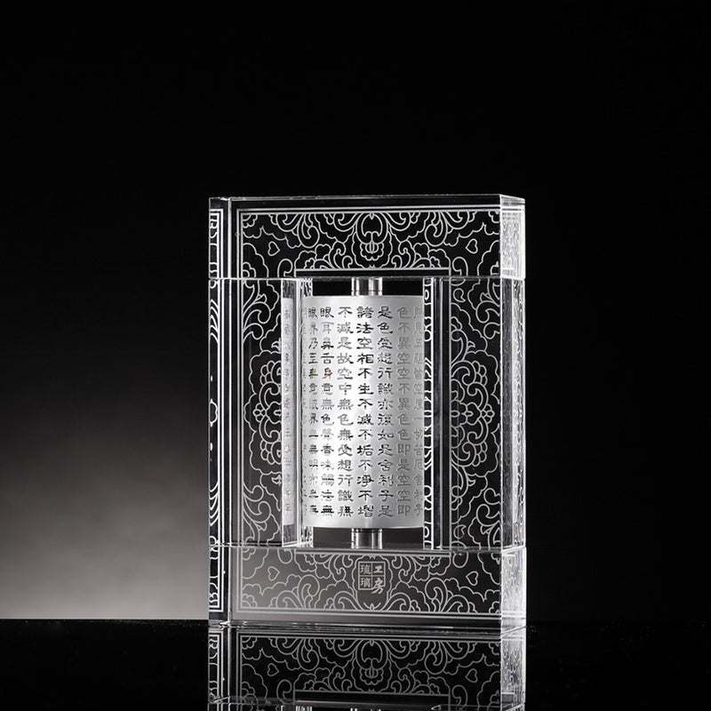 Chinese Crystal Prayer Wheel.  Signature Liuli Crystal Fine Art - LIULI Crystal Art