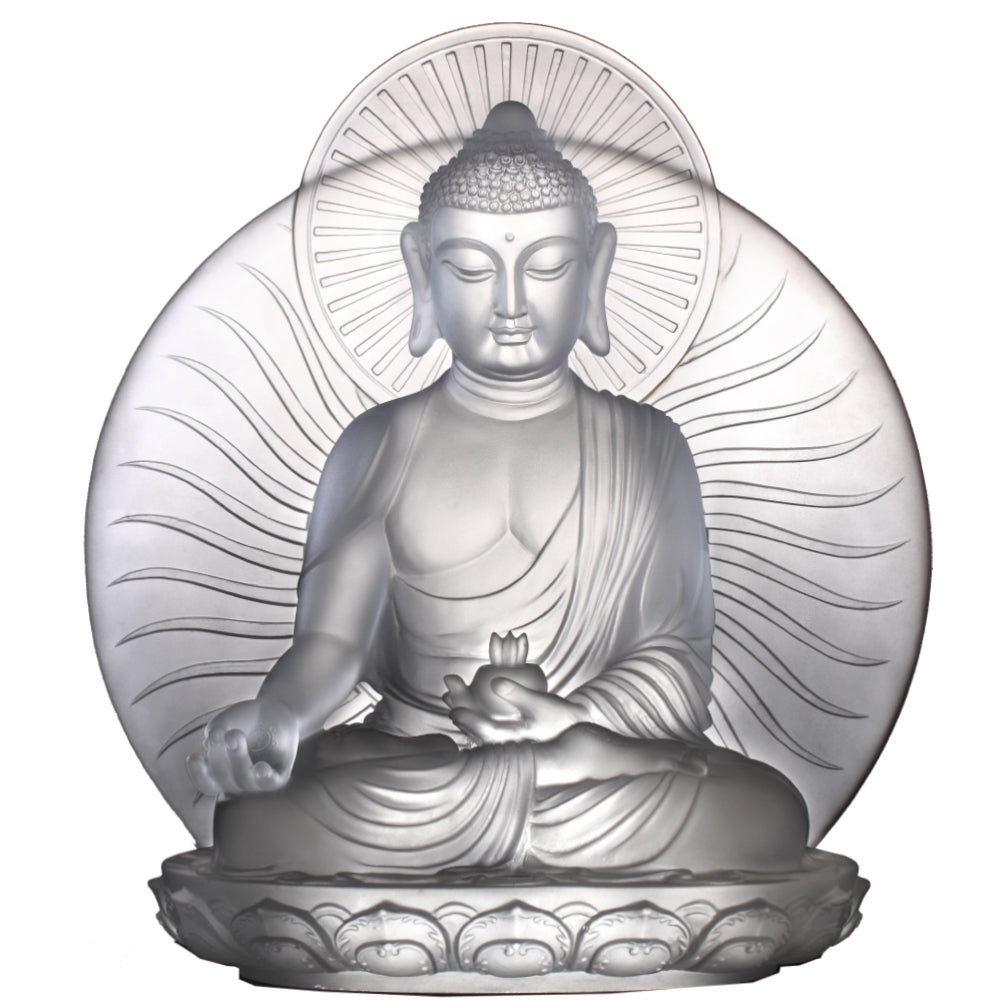 Crystal Buddha, Medicine Buddha, Wishes for Sentient Beings - LIULI Crystal Art - Frosted Clear.