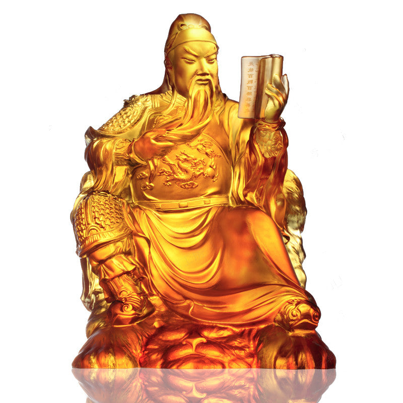 Loyalty of General Guan Gong - Righteous Cause - LIULI Crystal Art - Amber.