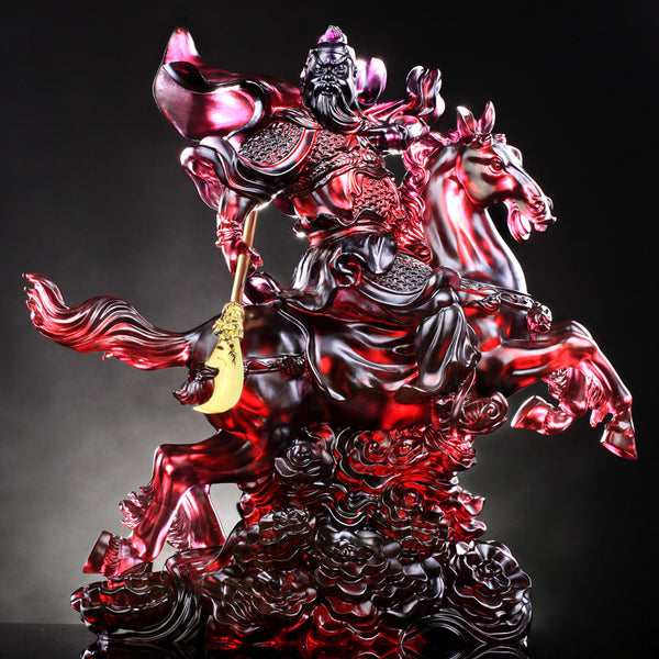 Courageous of General Guan Gong - Righteous One - LIULI Crystal Art | Collectible Glass Art