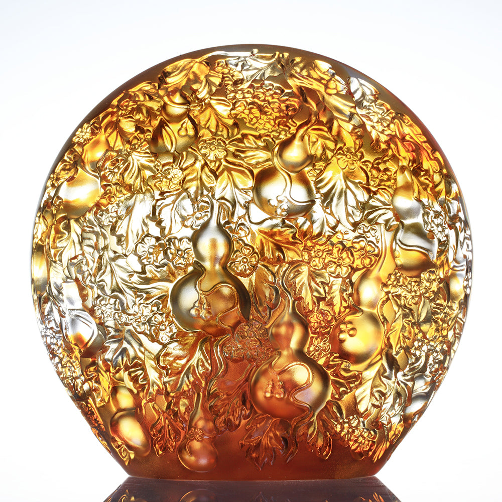 Crystal Gourd, Feng Shui Hulu, A Resplendent Union, 24K Gilded