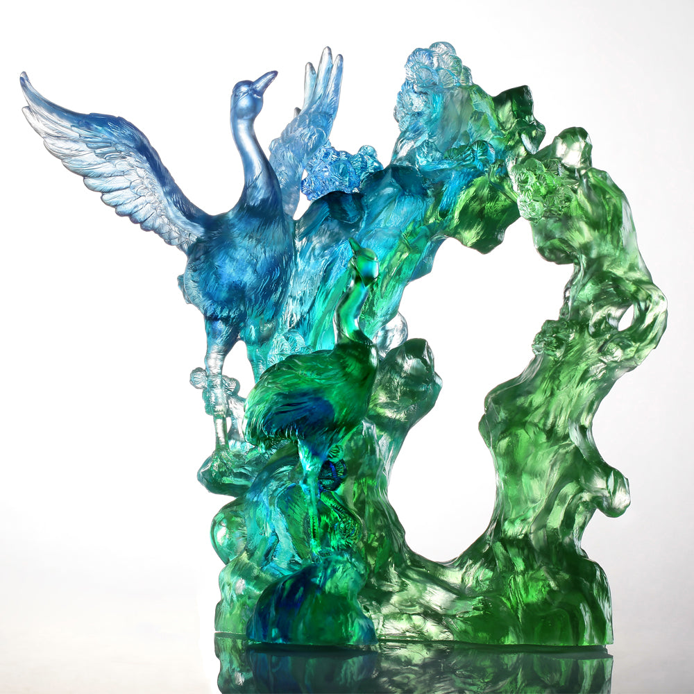 Infinite Eternity (Being Together, Harmony) - Crane Bird Figurine - LIULI Crystal Art - [variant_title].
