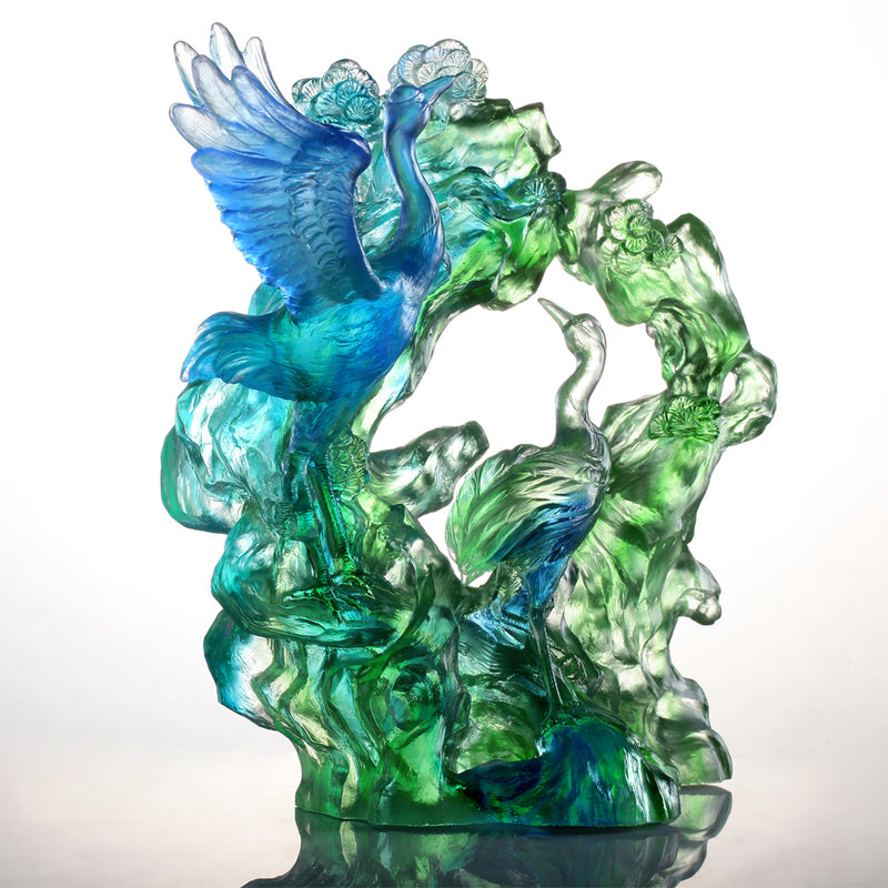 Crystal Bird, Crane, Infinite Eternity - LIULI Crystal Art
