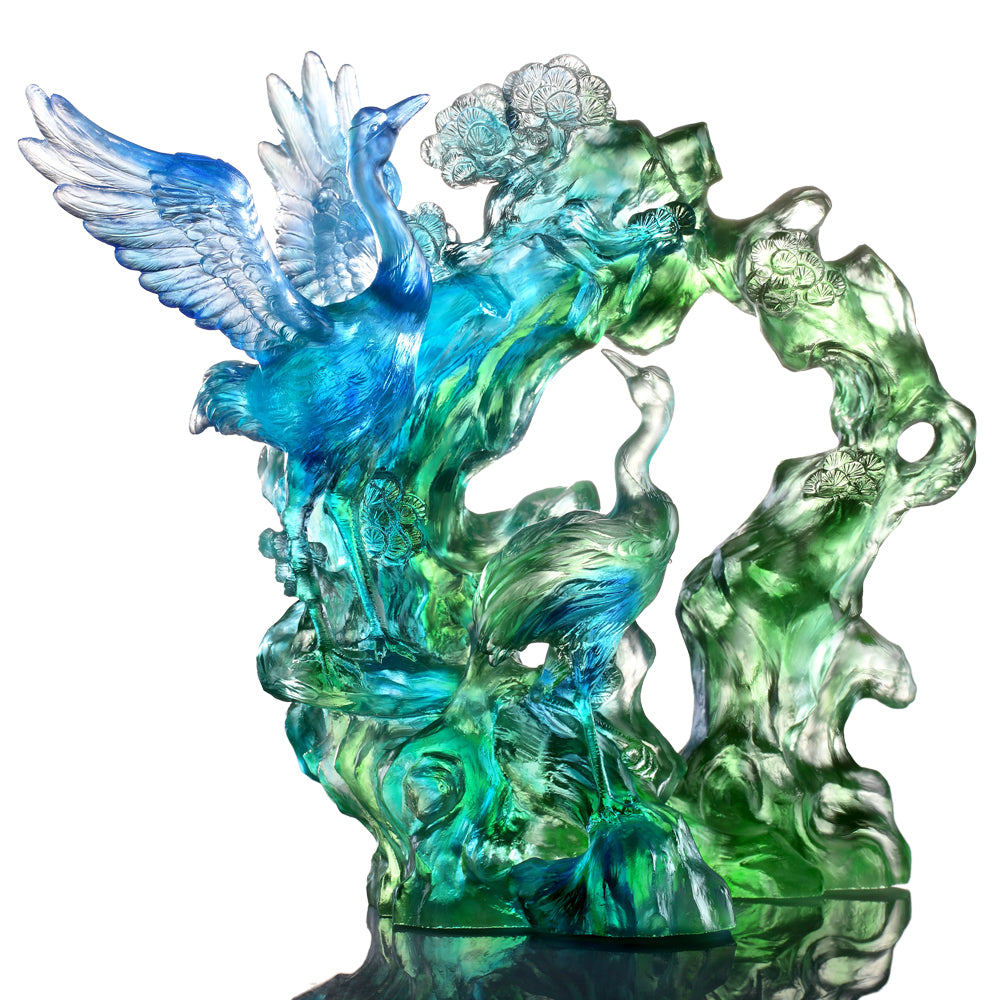 Crystal Bird, Crane, Infinite Eternity - LIULI Crystal Art - Bluish / Green Clear.