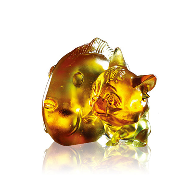 Cat & Fish Figurine (Friendship) - How like Glue You Are! - LIULI Crystal Art