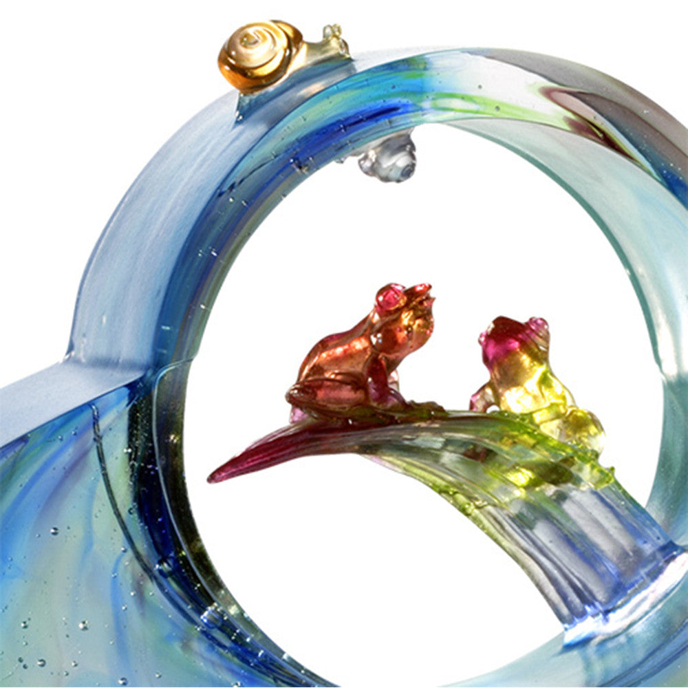 Crystal Animal, Frog, The Moon Shines Clarity Upon My Heart - LIULI Crystal Art