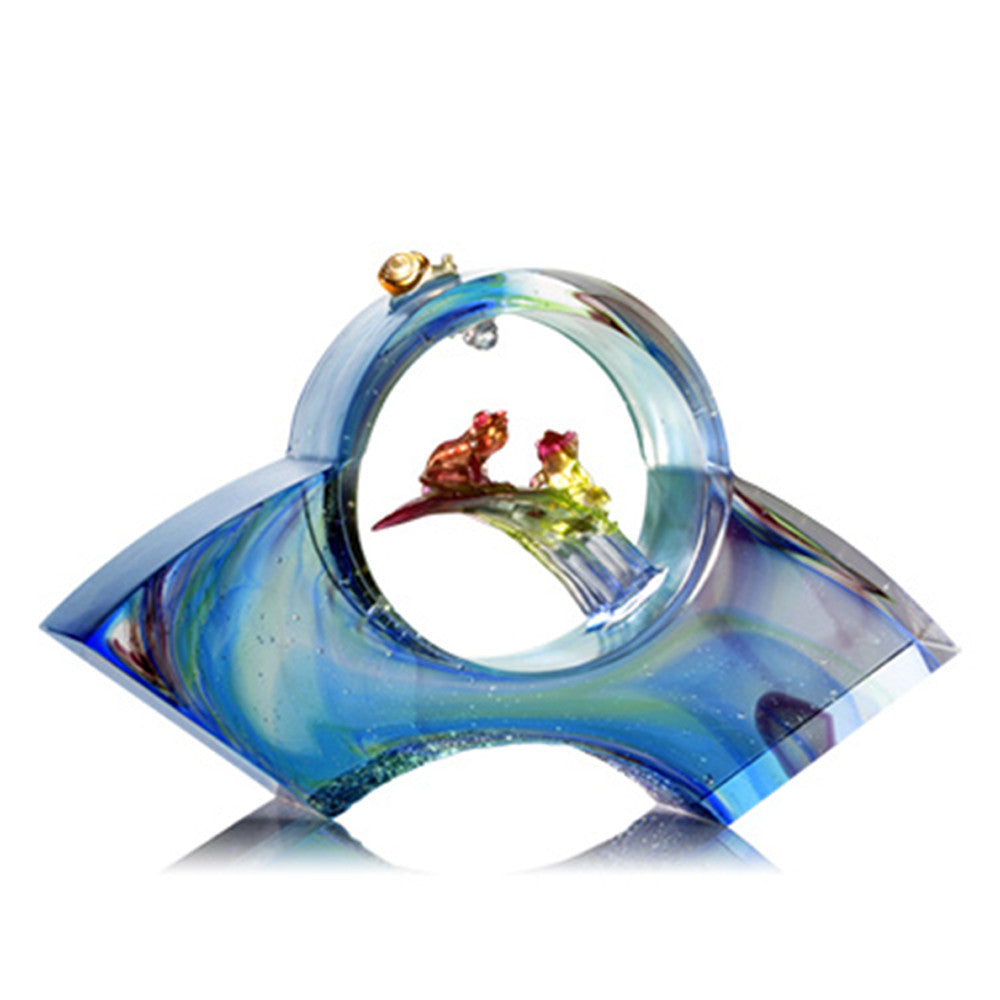 The Moon Shines Clarity Upon My Heart (Love & Romance) - Frog Figurine - LIULI Crystal Art - Violet Red / Green.
