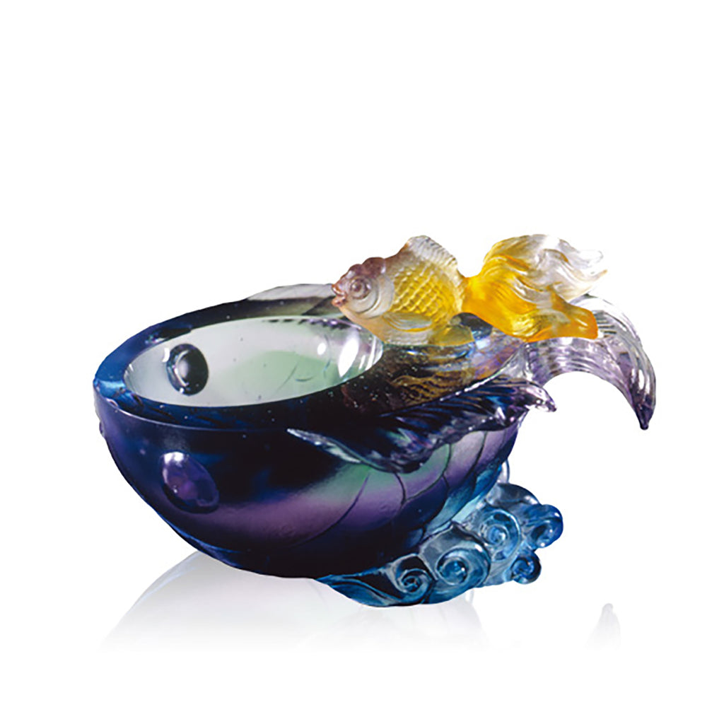 Crystal Decorative Bowl, Fish, Flow of Luck - LIULI Crystal Art