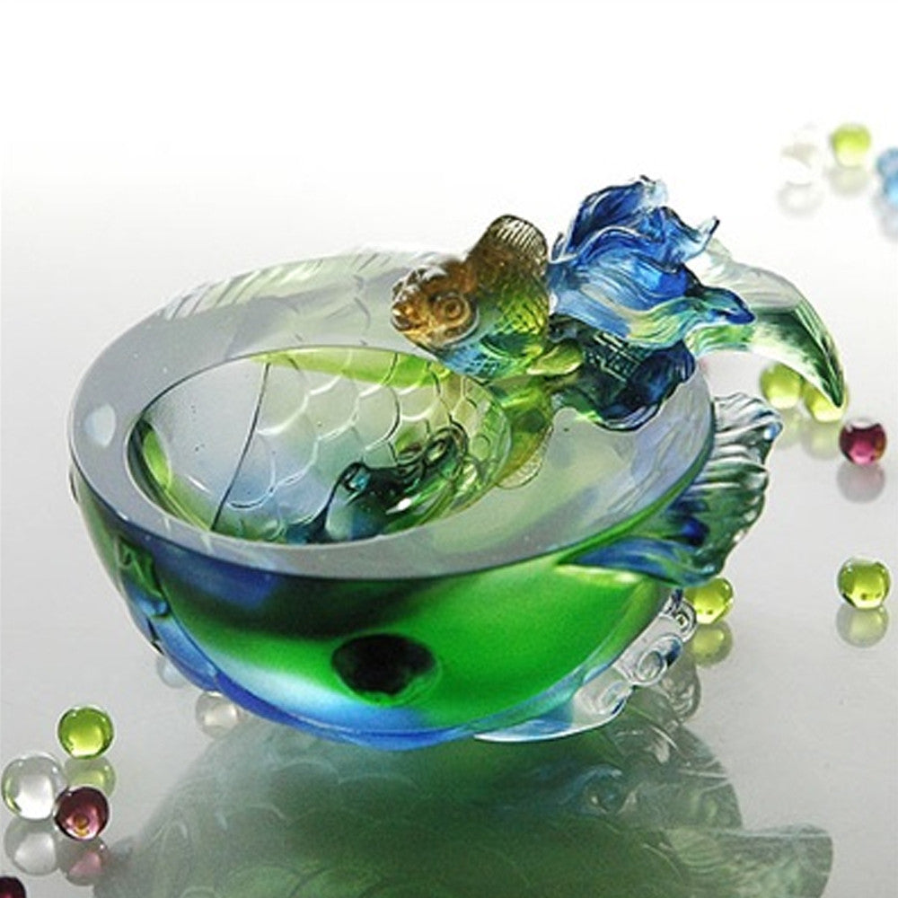 Flow of Luck (Promote Luck) - Fish Figurine - LIULI Crystal Art - Green/Sky Blue.