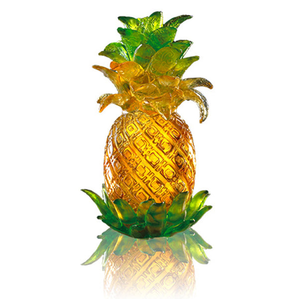 "Auspicious Fruit of Pineapple - ""Escalating Joy"" - LIULI Crystal Art"