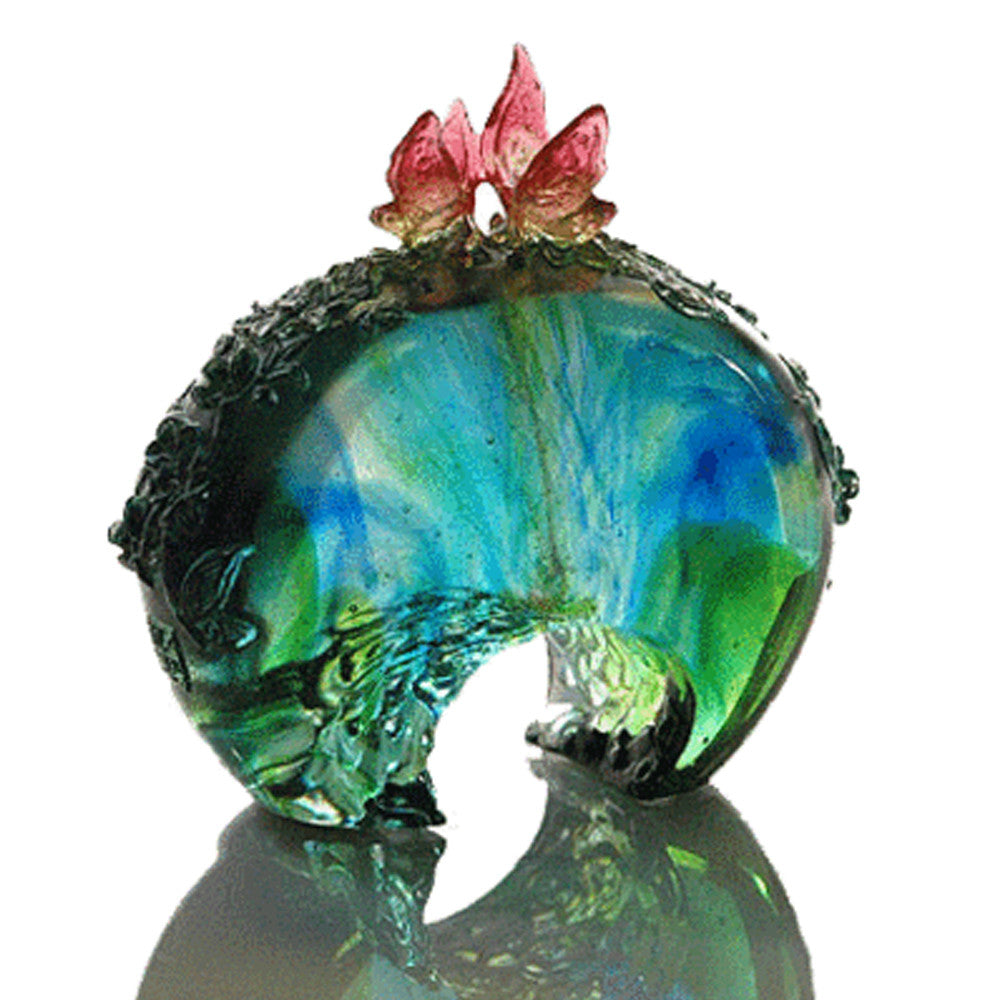 Flower Tango In The Top Sky - Crystal Butterfly (So In Love) - LIULI Crystal Art | Collectible Glass Art