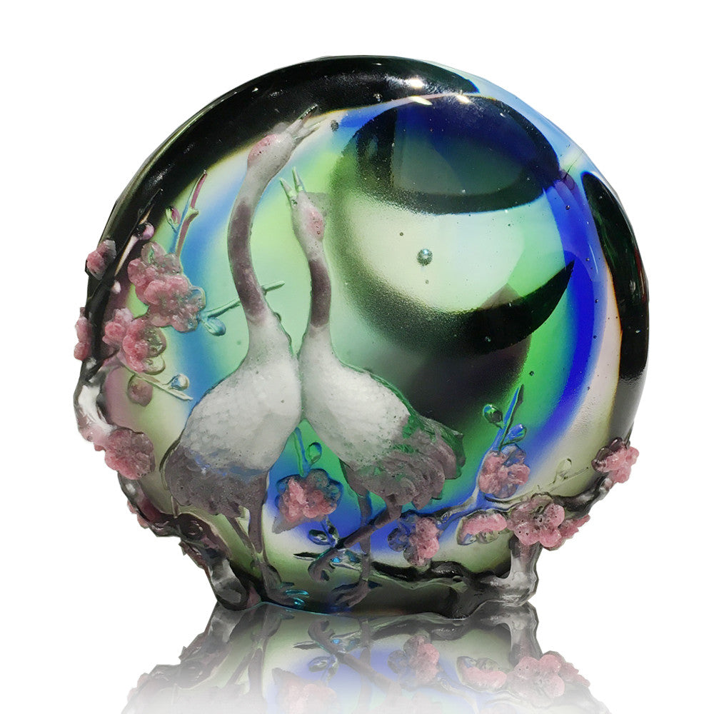 Crystal Bird, Crane, Moonlit Rendezvous - LIULI Crystal Art