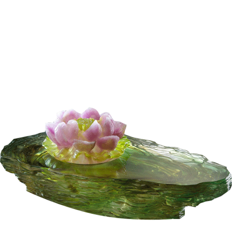 Crystal Flower, Lotus, Blooming Lotus, Surging Spring - LIULI Crystal Art