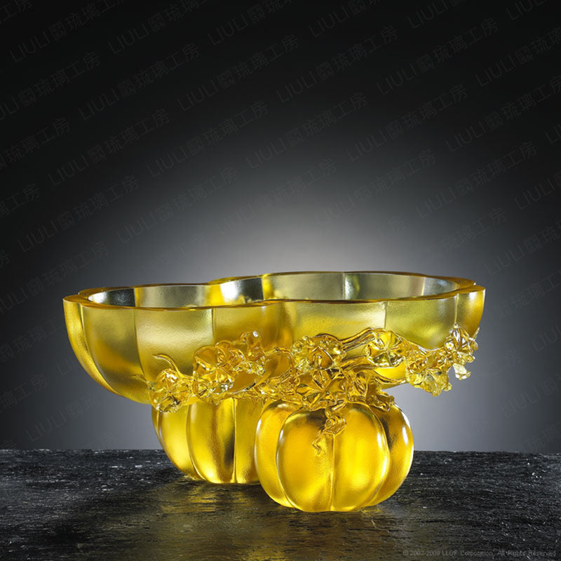 Crystal Bowl With Squash Shape, Golden Gourds of Fortune - LIULI Crystal Art - [variant_title].