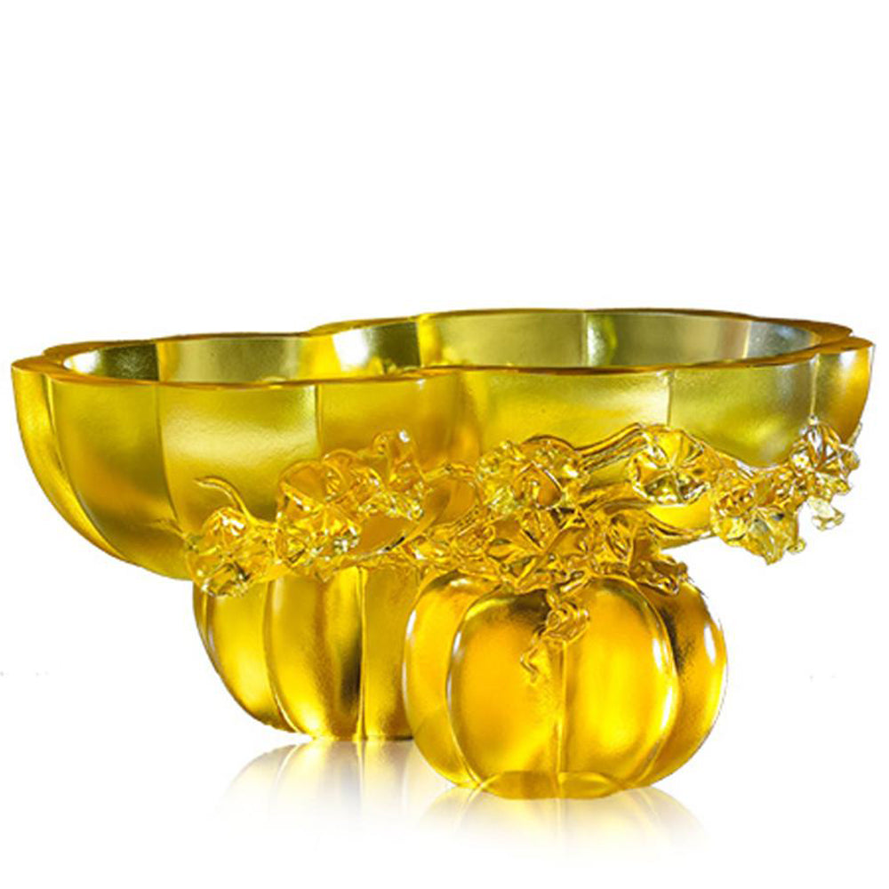 Golden Gourds of Fortune (Prosperity), Bowl with Squash Figurine - LIULI Crystal Art - [variant_title].