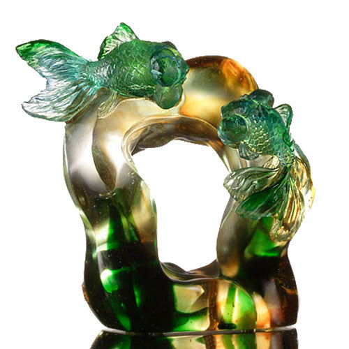 Fish Figurine (Fortune and Wealth) - Golden Green - LIULI Crystal Art - [variant_title].