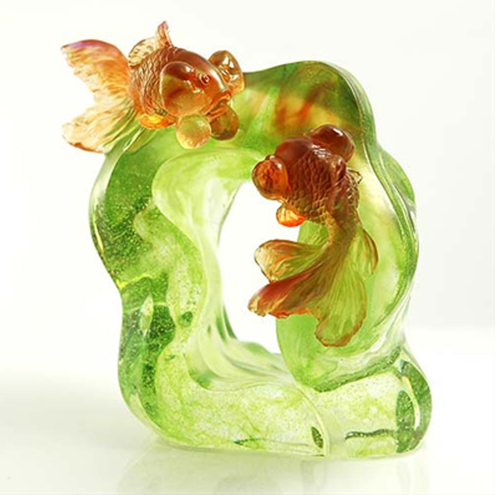 Fish Figurine (Fortune and Wealth) - Golden Green - LIULI Crystal Art | Collectible Glass Art