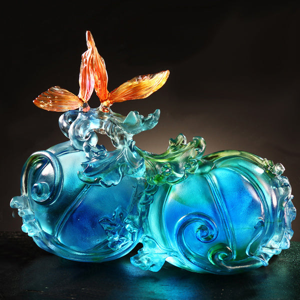 "Butterfly (Everlasting Happiness) - ""Fruits of Prosperity"" - LIULI Crystal Art"