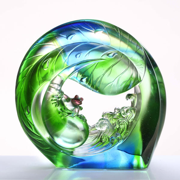 "Frog Figurine (Ambition) - ""Hero in the Waves, You and Me"" - LIULI Crystal Art 