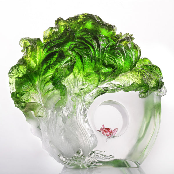 -- DELETE -- Great Luck, Great Yield (Harvest) - Cabbage & Grasshopper Figurine - LIULI Crystal Art