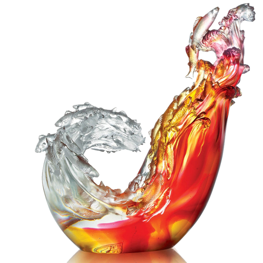 Together We Will Reach the Crest (Courage of Love) - Fish Figurine (with Acrylic base) - LIULI Crystal Art | Collectible Glass Art