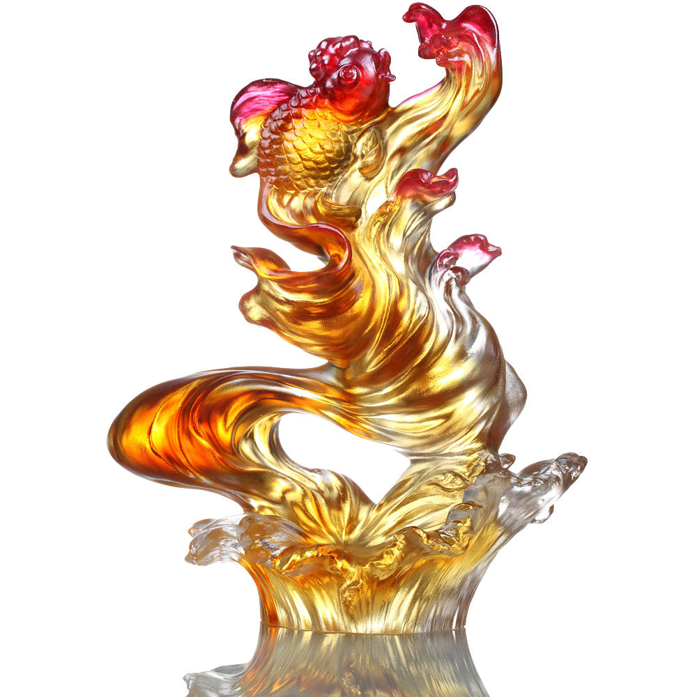 Crystal Fish, Goldfish, Upstream In Song - LIULI Crystal Art - Dark Amber / Light Amber.