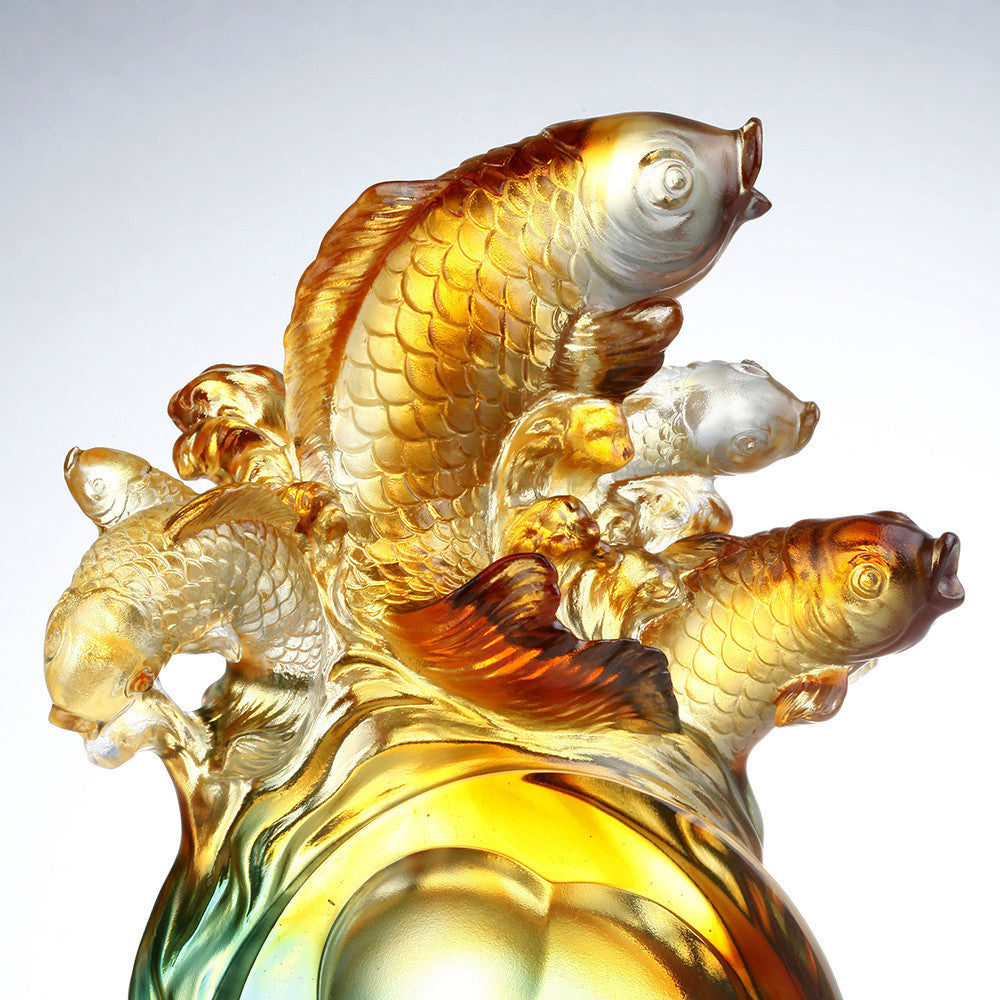 Crystal Fish, Koi Fish, Together We Charge - LIULI Crystal Art