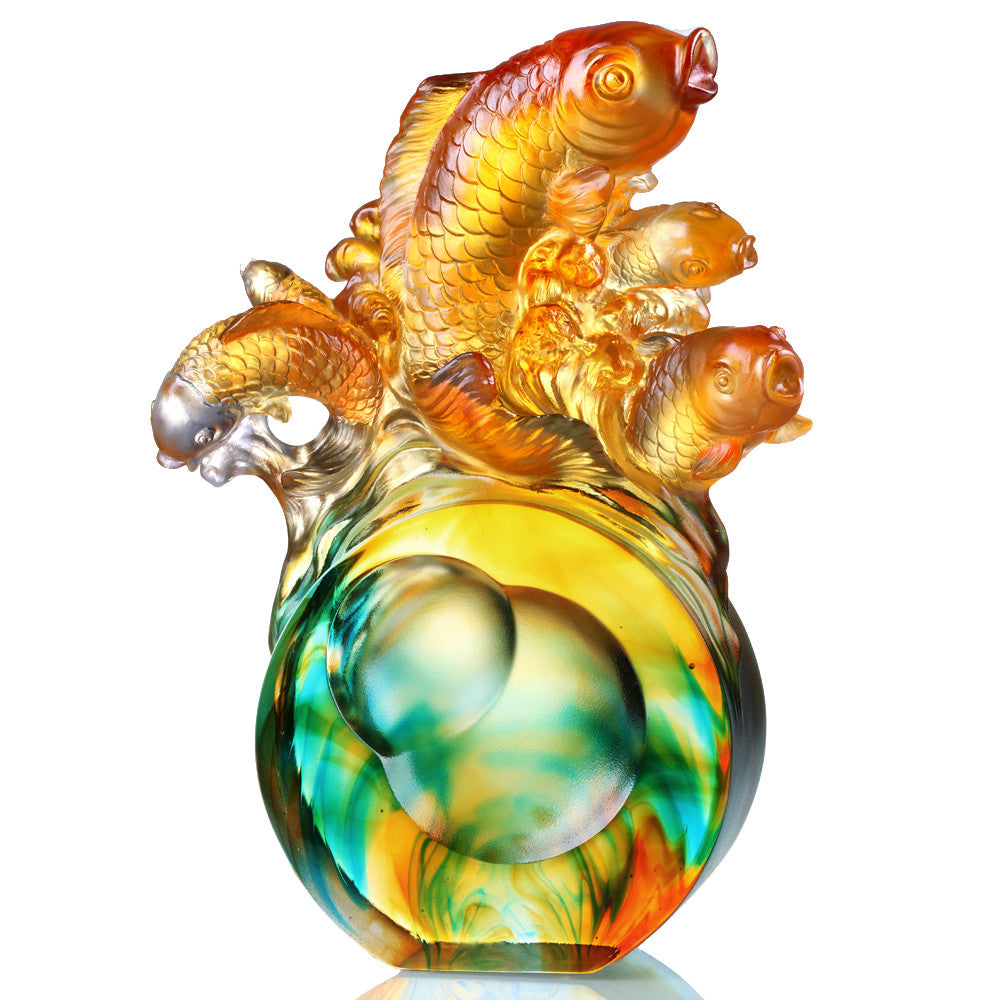 Crystal Fish, Koi Fish, Together We Charge - LIULI Crystal Art - Amber / Bluish Clear.