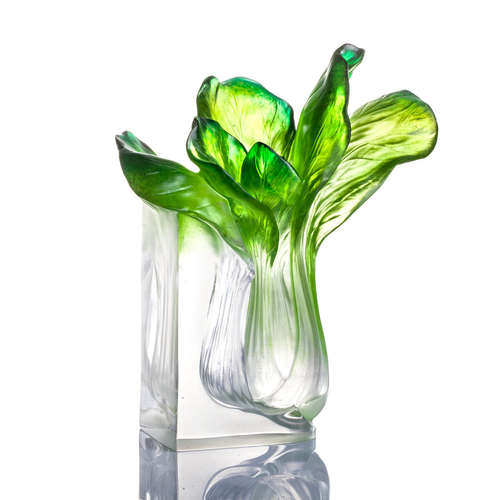 "Chinese Cabbage, Bok Choy Figurine (Vigorous) - ""Outlast"" - LIULI Crystal Art 