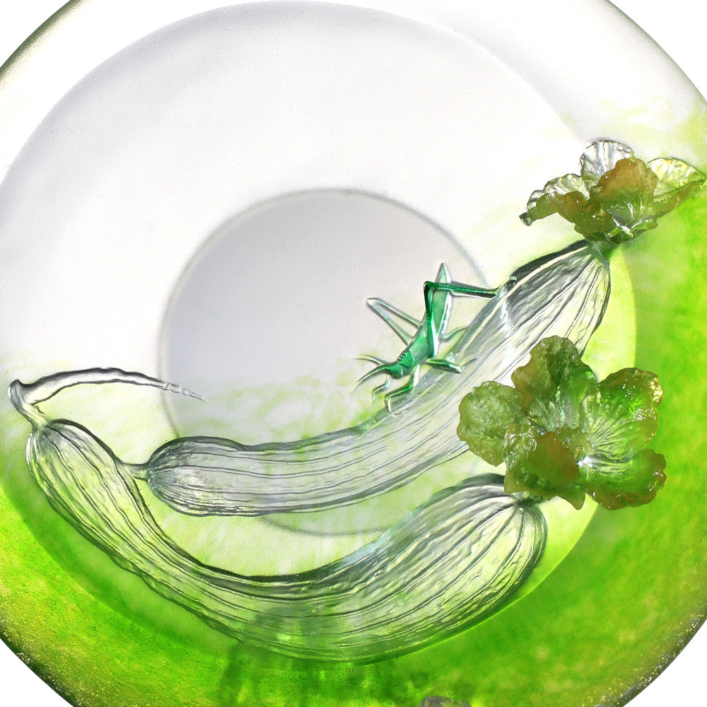 Thrive (Blessing) - Grasshopper and Loofah, Luffa Figurine - LIULI Crystal Art - [variant_title].