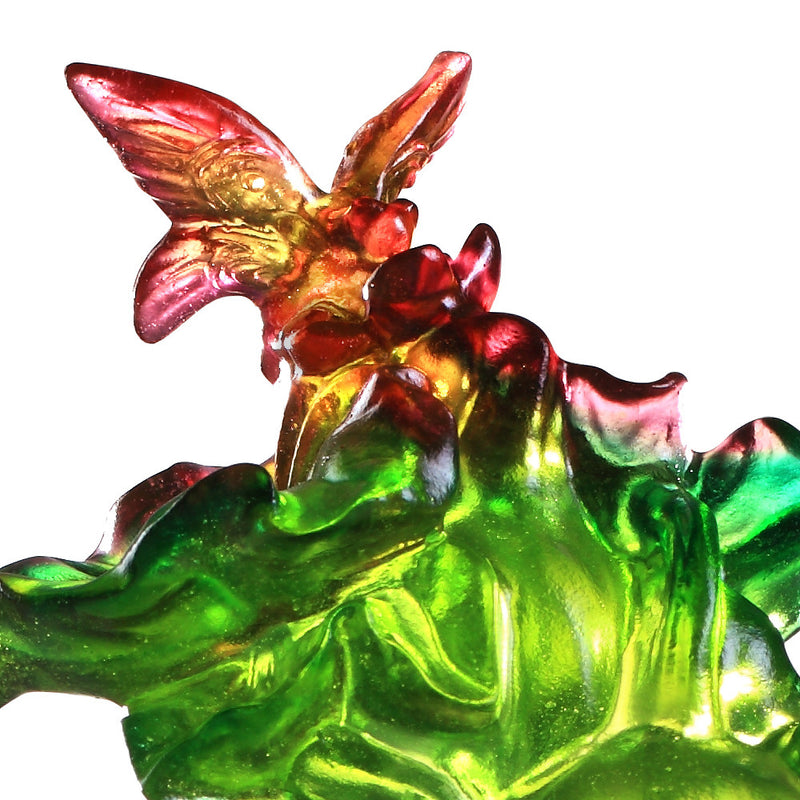 Crystal Butterfly and Gourd, Hulu, Verdant Layers of Fortune - LIULI Crystal Art