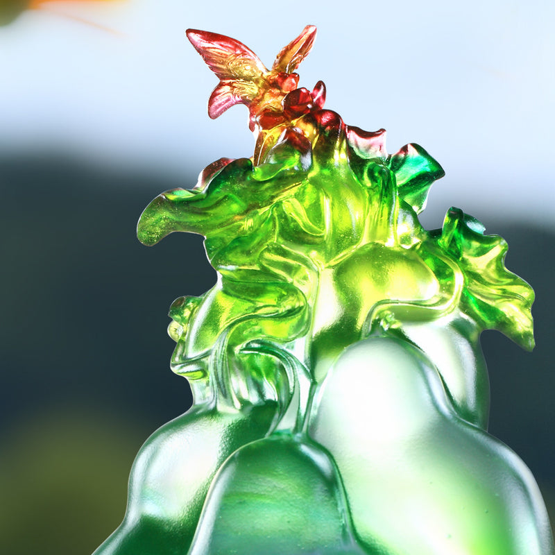 Verdant Layers of Fortune (Blessing) - Butterfly and Gourd Figurine - LIULI Crystal Art - [variant_title].